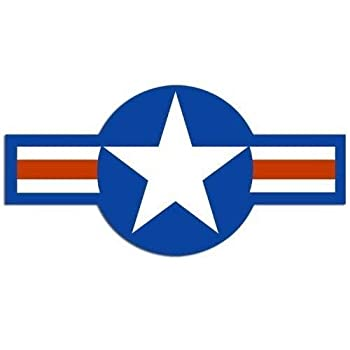 JR Studio 2.5x5 inch Air Force Roundel Shaped Sticker -us Fly Star USAF Wing Insignia Logo Vinyl Decal Sticker Car Waterproof Car Decal Bumper Sticker