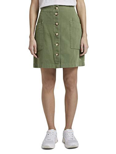 TOM TAILOR Denim Damen Röcke Utility Minirock mit Knopfleiste Olive Green,S,22517,7000