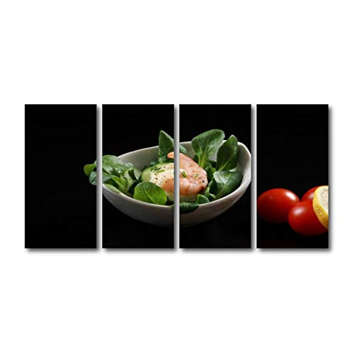 Modern 4 Panels Wall Art Set Framed Canvas PrintPrawns Canapes with Cream Cheese on bed of lettuce Art Ready To Hang For Bedroom Home Office Decorations Unique Gift Giving