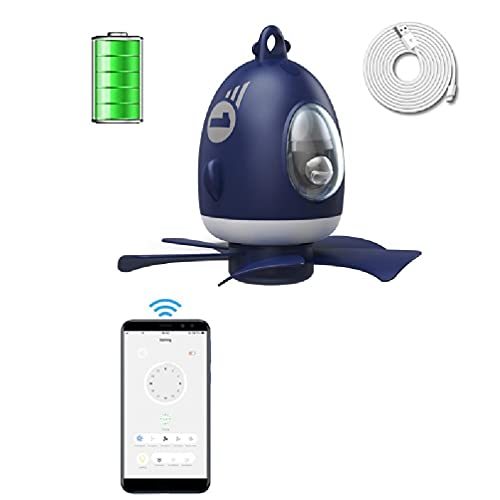 Silencioso 5 hojas recargable con batería App Control temporizador 4 engranajes LED toldo ventilador para dormitorio cama tienda ventana ventilador doble reversible silencioso