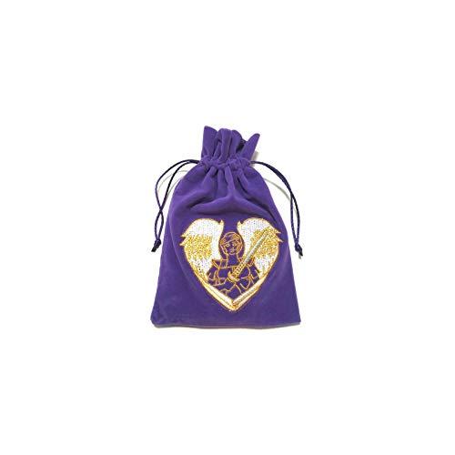 Find Something Different Erzengel Michael bestickter Samtbeutel, violett, mit Zugband für Tarot Karten