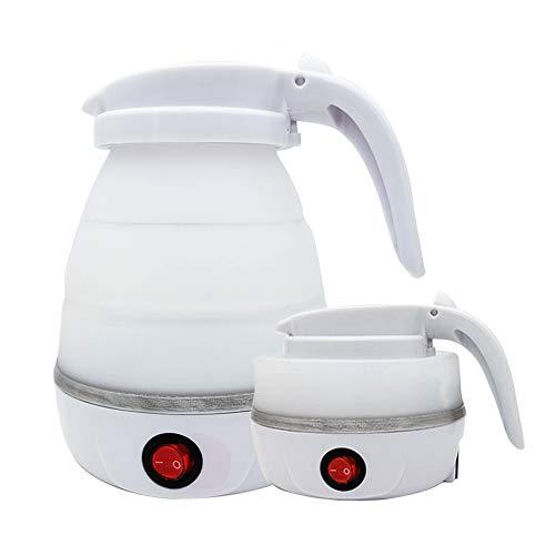 Gobesty Hervidor de agua plegable, de silicona, para camping, con base de acero inoxidable, 0,6 litros, ideal para camping o viajes en moto, color blanco