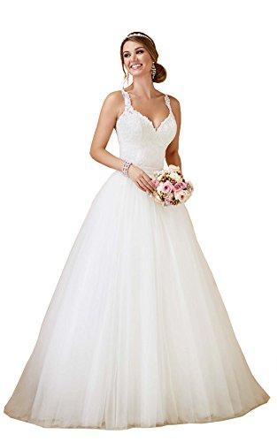 Nanger Damen A Linie Prinzessin Tüll Spitze Hochzeitskleider mit Abnehmbar Rock Brautkleider Lange Weiß 38