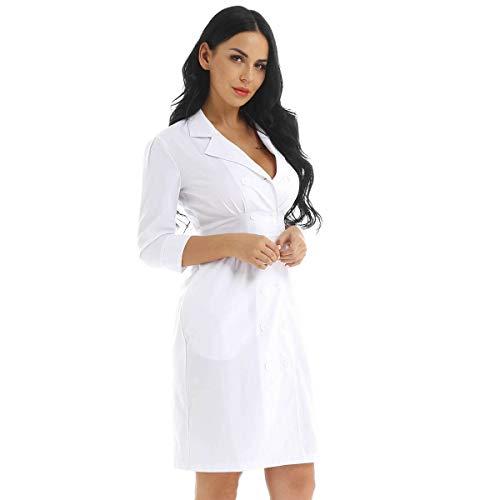 iixpin Damen Arztkittel Arbeitsmantel Weißer Medizin Kittel Krankenschwester Kostüm Kleid Berufsmantel mit Taillendesign - Weiß, S-3XL Weiß X-Large