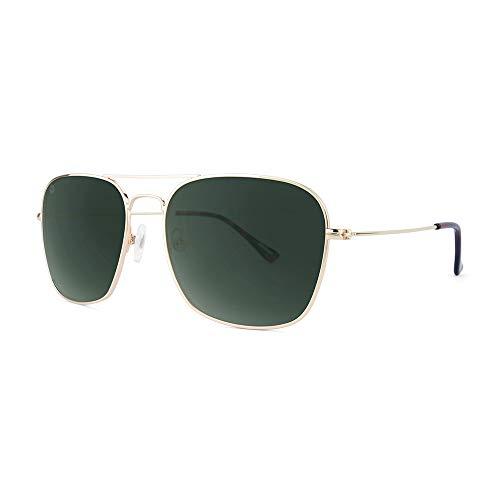 Knockaround Mount Evans Polarized Squared Aviator Sunglasses With Gold Metal Frames/Dark Green Lenses