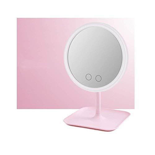 XYSQWZ Espejos De Maquillaje con Luz Led Tocador Espejo Anillo De Belleza Espejo De Luz Herramientas De Belleza para Luz De Relleno De Fotos Espejos Pequeños (Color: Rosa)