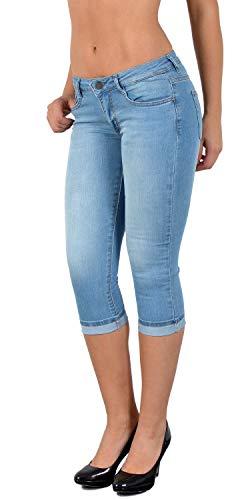 ESRA Damen Caprihose Capri Hose Damen Kurze Hose Jeans 3/4 Jeans Hüfthose extra Tief H11