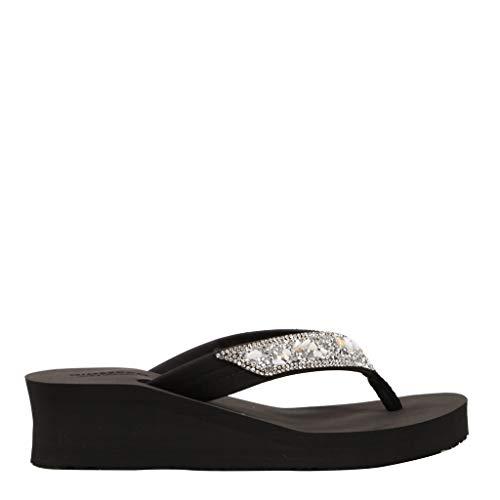 Sandalen voor strand, zwembad, dames, met strass-steentjes en schelpen, zwart