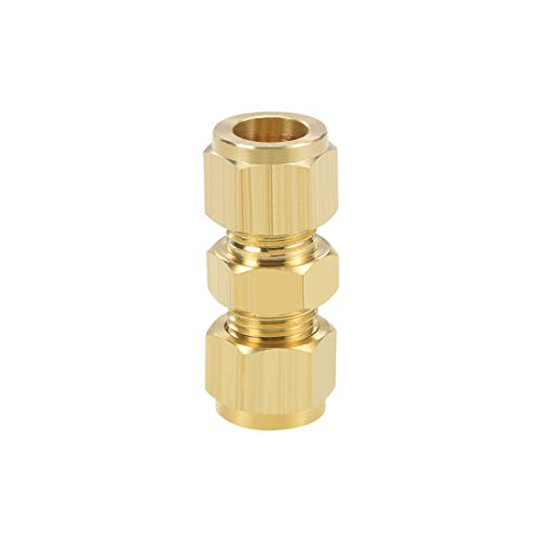 uxcell Brass Compression Tube Fitting 8mm OD Straight Pipe Adapter for Water Garden Irrigation System 2pcs