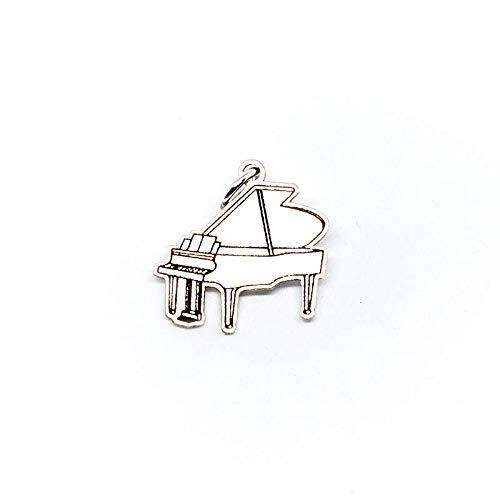 Gepersonaliseerde zilveren hanger piano 18 mm muziekinstrument van 925 sterling zilver