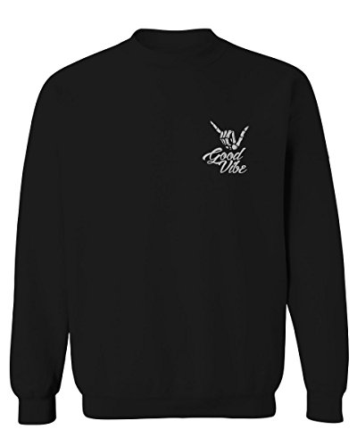 Good Vibe Bones Hand Shaka Cool Vintage Hipster Graphic Men's Crewneck Sweatshirt (Black Small)