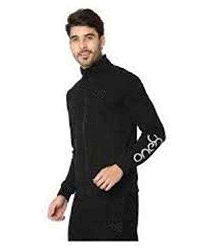 Royal spin black onex running sportswear tracksuit foe men (black, large)