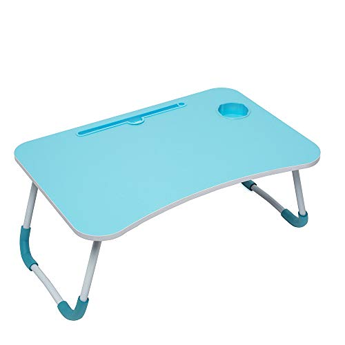 Foldable Laptop Lap Desk, Portable Computer Bed Table Tray with Phone Stand and Cup Holder for Sofa Couch Breakfast Dining (Light Blue)