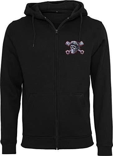 Chaqueta Sudadera con Capucha: Devil Driver - con Bordado/Hoodie/Hoody Zipper Sweater/Hombre-s y Mujer-es/Moto-cicleta/USA/Chopper/Skull Calavera/Motero/Hooded-Jacket (L)