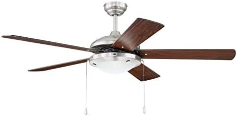 """popular Craftmade NIK52BNK5 Nikia 52"""" new arrival Indoor/Outdoor Damp Location Ceiling Fan discount with Light Kit, 5 Blades, Brushed Polished Nickel sale"""