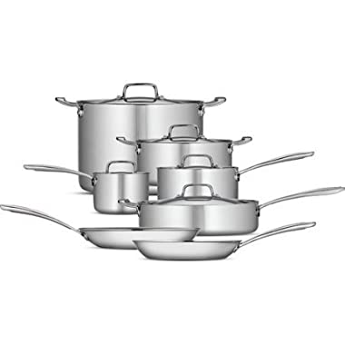 Tramontina 12-Piece Tri-Ply Clad Cookware Set, Stainless Steel