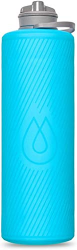 Hydrapak Flux - Collapsible Backpacking Water Bottle (1 Liter) - BPA Free, Ultra Light, Spill-Proof Twist Cap - Malibu Blue
