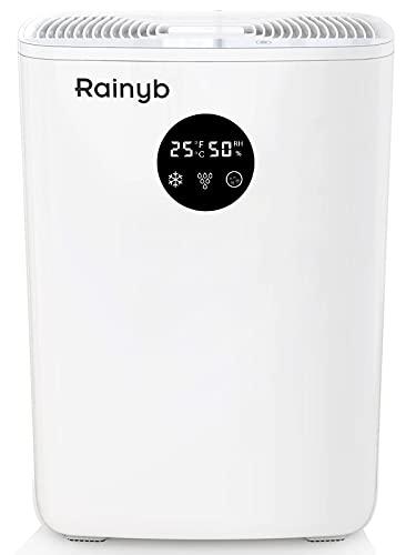 Rainyb Dehumidifier for Home 85oz(2500ml) , Small Dehumidifier for 480 Sq.Ft Ultra Quiet Portable Dehumidifier with Auto-Off for Home Basements Bathroom Bedroom Closet Kitchen RV