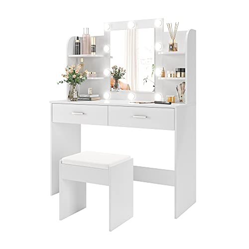 POVISON Large Vanity Desk with 10 Light Bulbs, Makeup Vanity Table Set with 2 Drawers and 6 Storage Shelves, Dressing Table with Cushioned Stool for Women, Girls, White