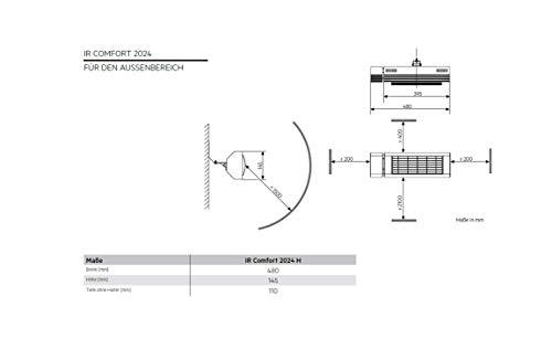 AEG Kurzwellen-Heizstrahler IR Comfort 2024 H mit Hirschmannstecker, 2000 W, hocheffiziente Qualitäts-Goldröhre, 229955 - 6