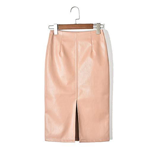 NDJqer Women Pu Leather Midi Skirt Autumn Winter Ladies Package Hip Front Or Back Slit Pencil Skirt Pink XXXL