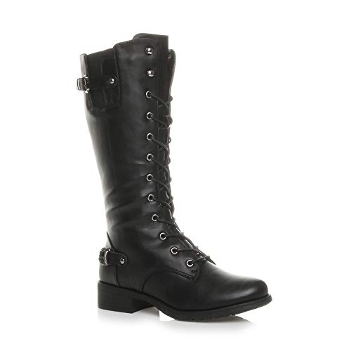 Ajvani Womens Ladies Low Heel lace up Zip Biker Army Military Calf Boots,...