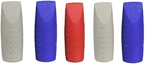 Faber-Castell Grip 2001 - Juego de dos capuchones de goma borradora (5 unidades), colores surtidos