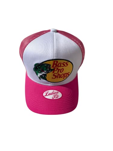 Authentic Bass Pro Shop Women's Trucker Hat Mesh Cap Snapback Closure One Size Fits Most Great for Hunting & Fishing Hot Pink