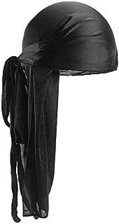 Men Women Silk Satin Breathable Silky Durag 360 Wave Cool Bandana Hat Turban - Black