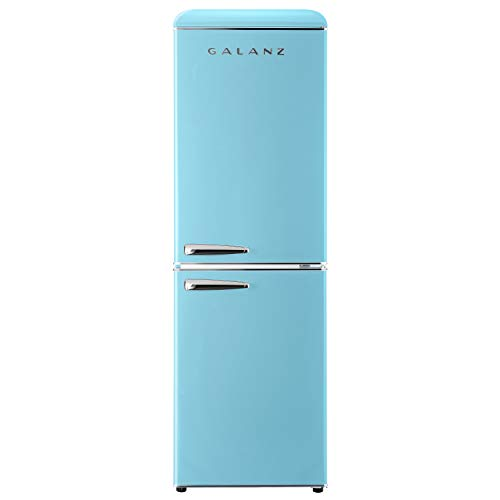 Galanz GLR74BBER12 Retro Bottom Mount Refrigerator, Adjustable Mechanical Thermostat with True Freezer, Blue, 7.4 Cu Ft