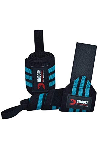 """DMoose Wrist Wraps for Weightlifting - 12"""" and 18"""" Thumb Loops with Wrist Support Braces, Powerlifting, Crossfit, Lifting Wrist Bands for Working Out with Adjustable Straps for Men and Women"""