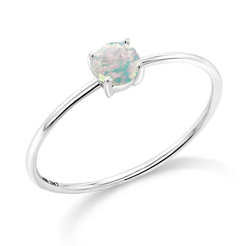 Gem Stone King 10K White Gold White Simulated Opal Women's Engagement Ring (0.25 Ct Round Cabochon, Available in size 5, 6, 7, 8, 9)