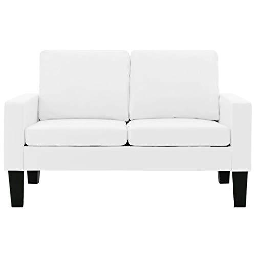 vidaXL Sofa 2-Sitzer Zweisitzer Loungesofa Ledersofa Polstersofa Sitzmöbel Polstermöbel Designsofa Wohnzimmersofa Weiß Kunstleder Holzrahmen