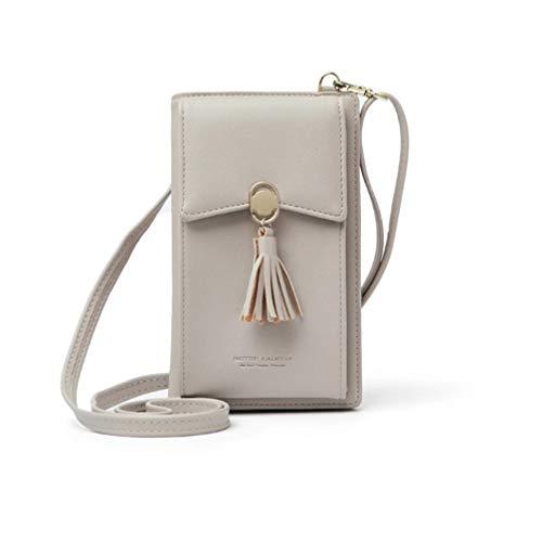 HMILYDYK Frauen Brieftasche Cross-Body Tasche Leder Geldbörse Handy Mini-Tasche Kartenhalter Schulter Brieftasche Tasche (Tassel beige)