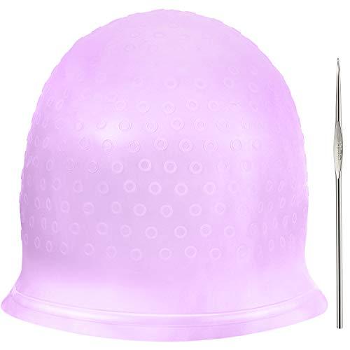 Chapeau de Coloration en silicone Chapeau de Cheveux Soulignant Réutilisable Chapeau de Coloration de Cheveux Dye de Salon avec Crochets pour Teinture des Cheveux de Femmes Filles (Violet)