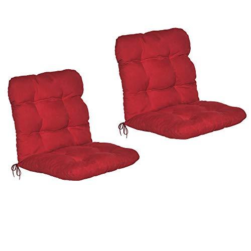 Beautissu 2er Set Niedriglehner Auflagen Set Flair NL Stuhlauflage 100x50x8cm Sitzkissen Niederlehner Gartenstühle Sitzauflagen Stuhlkissen Rot