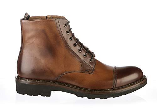 Rossi 6814 Brown Calfskin Italian Designer Side Zip Man Boots
