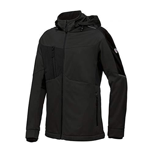 BP 1830-992-0032-Ln Opstaande kraag Softshell-jas voor heren, ritssluiting, 100% polyester, zwart, Ln maat