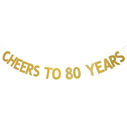 Losuya Cheers to 80 Years Banner Gold Glitter Letters Bunting Garlands 80th Birthday Anniversary Party Photo Prop Decor