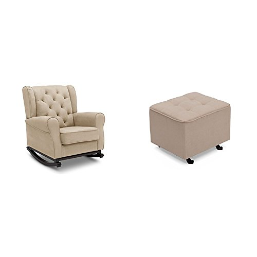 Delta Furniture Emma Rocking Chair with Tufted Gliding Ottoman, Ecru