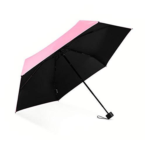 Mini-Regenschirm mit 6 Knochen, ultraleicht, für Regen oder Sonnenschein, romantisches Puder