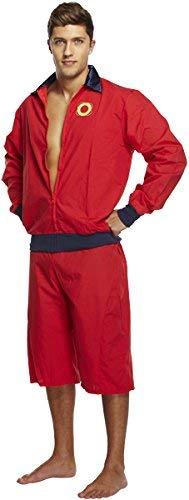 Emmas Garderobe Lifeguard Kostüm Männer - Baywatch-Outfit für Ihre nächsten 90er oder Pool-Party UK Größe M-L (Men: Large, Red)