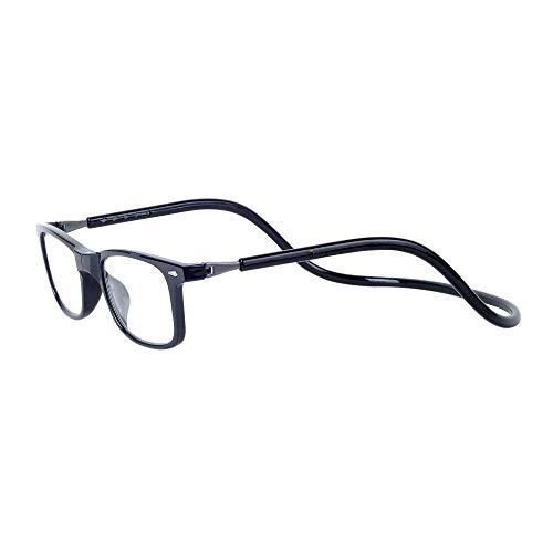 Magnetici Occhiali da Vista Lettura Donna e Uomo +2.00 (50-54 Anni) Montatura Nero Presbiopia Regolabili Pieghevoli Leggeri Chiusura Calamita, Stanghette per Appendere al Collo
