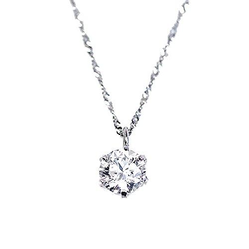 【KASHIMA】純プラチナ台 0.4ct ダイヤモンド 一粒石 ペンダント ネックレス