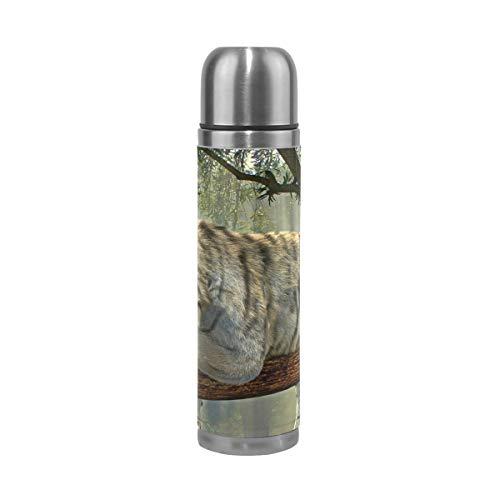 Ahomy Edelstahl-Thermoskanne, Tiger, Tier-Dschungel, Regenwald, exotische Welt, isoliert, für Reisen, Kaffee, 500 ml