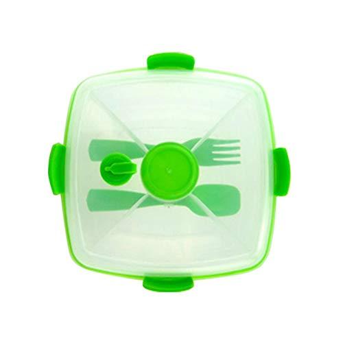 Male god Dios Hombre Recipiente para Almuerzo con Ensaladera Plástico Sin BPA, Caja De Fruta Separada para Almuerzo De Doble Capa con Tarro para Salsa Y Cuchara Tenedor Reutilizable (Color : Green)