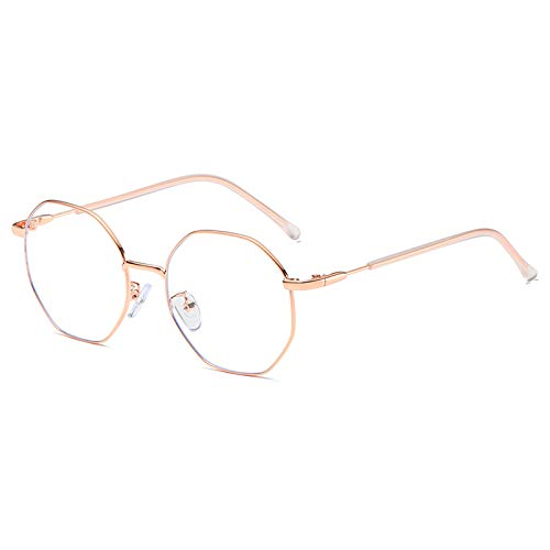 Dollger Blaulichtfilter Brille Computerbrille Anti Blaulicht Brille ohne sehstärke Metallgestell Brille Pc Gaming Bluelight Filter Uv Blockieren Blaue Licht Glasses Damen Herren Roségold