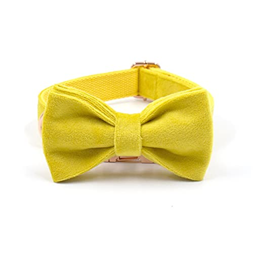 ZZCR Collar De Perro Mascota Collar De Hebilla De Lazo De Terciopelo Collar De Varios Tamaños Collar Suave Anti-Golpes Amarillo S