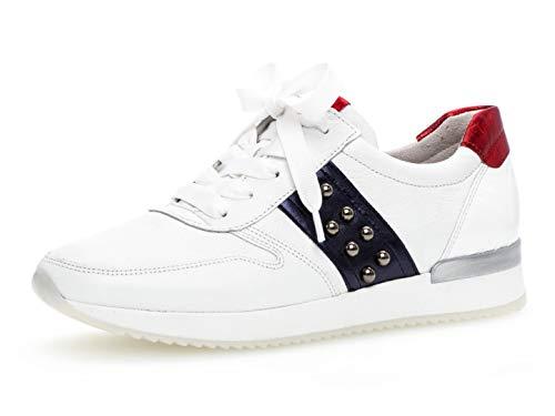 Gabor Damen Low-Top Sneaker 24.421.20, Frauen Halbschuh,Schnürschuh,Strassenschuh,Business,Freizeit,Weiss/Night/Rosso,40.5 EU / 7 UK