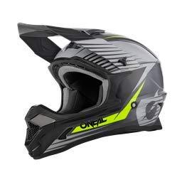 O'NEAL | Motocross-Helm | MX Enduro Motorrad | ABS-Schale, Sicherheitsnorm ECE 22.05, Lüftungsöffnungen für optimale Belüftung & Kühlung | 1SRS Helmet Stream | Erwachsene | Grau Neon-Gelb | Größe M